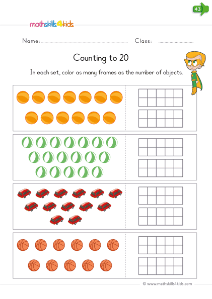 Counting to 20 worksheets pdf for Kindergarten | Kinders ...