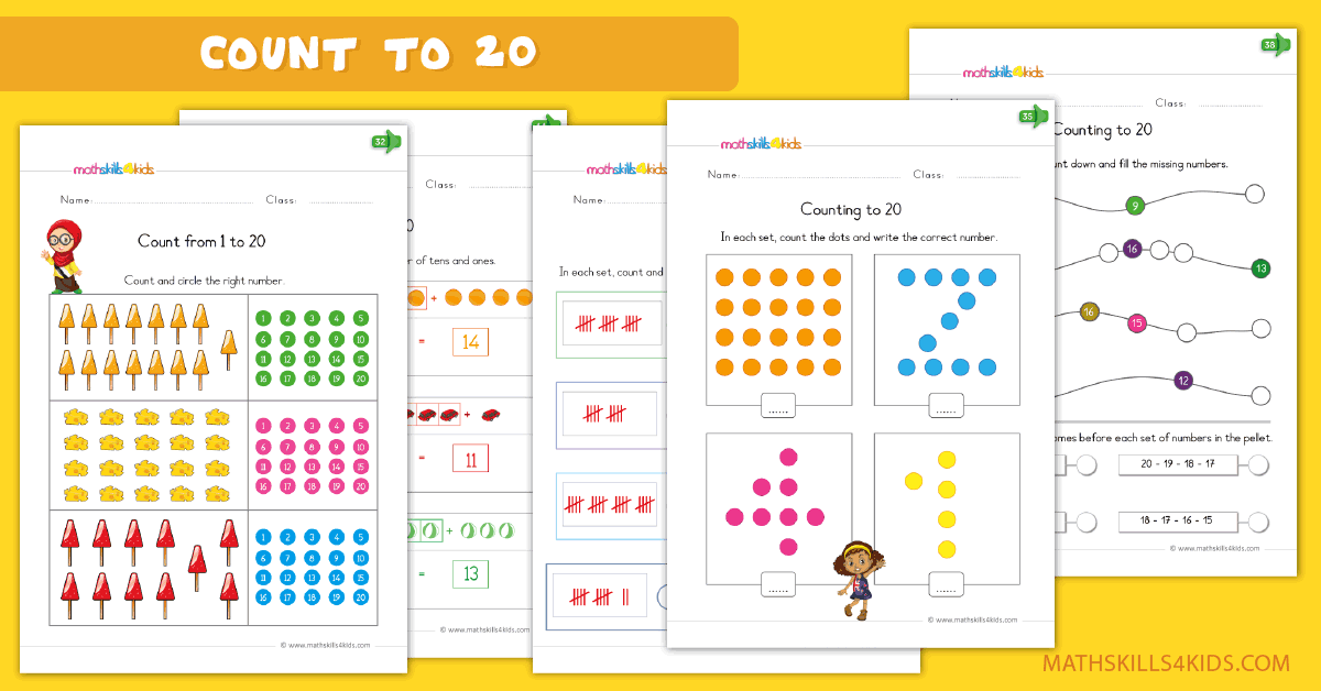 Kindergarten math worksheets - Learn to count to 20 worksheets
