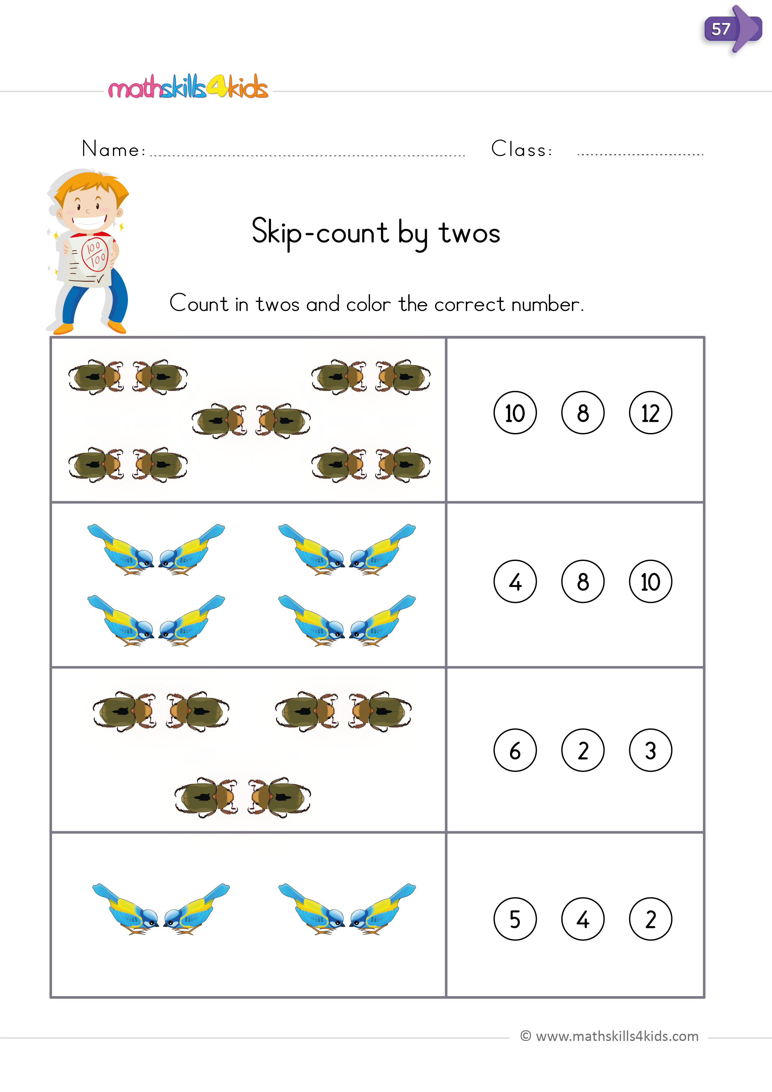 skip counting by 2 5 and 10 worksheets