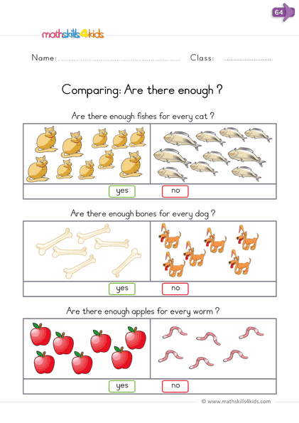 Comparison Worksheets For Kindergarten Compare Numbers And Sizes