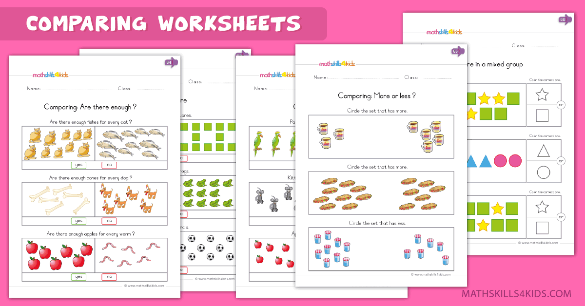 Kindergarten math worksheets - comparing worksheets