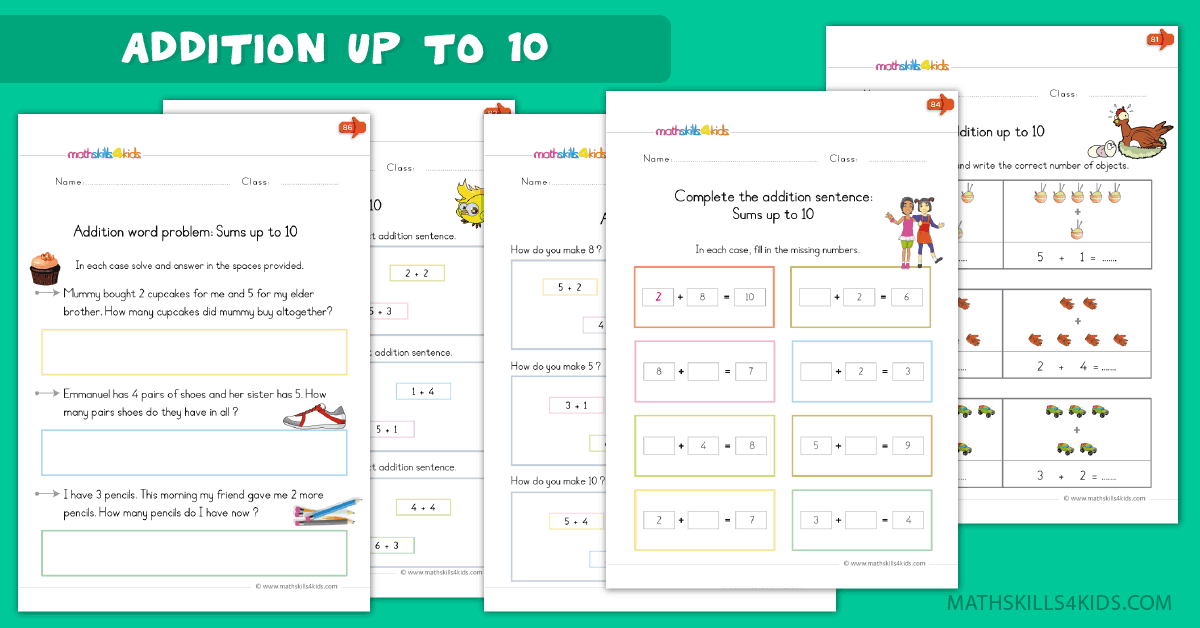 Kindergarten math worksheets - addition up to 10 worksheets