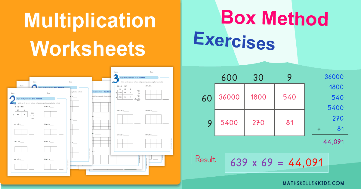 Box method multiplication worksheets PDF - Partial product multiplication worksheets