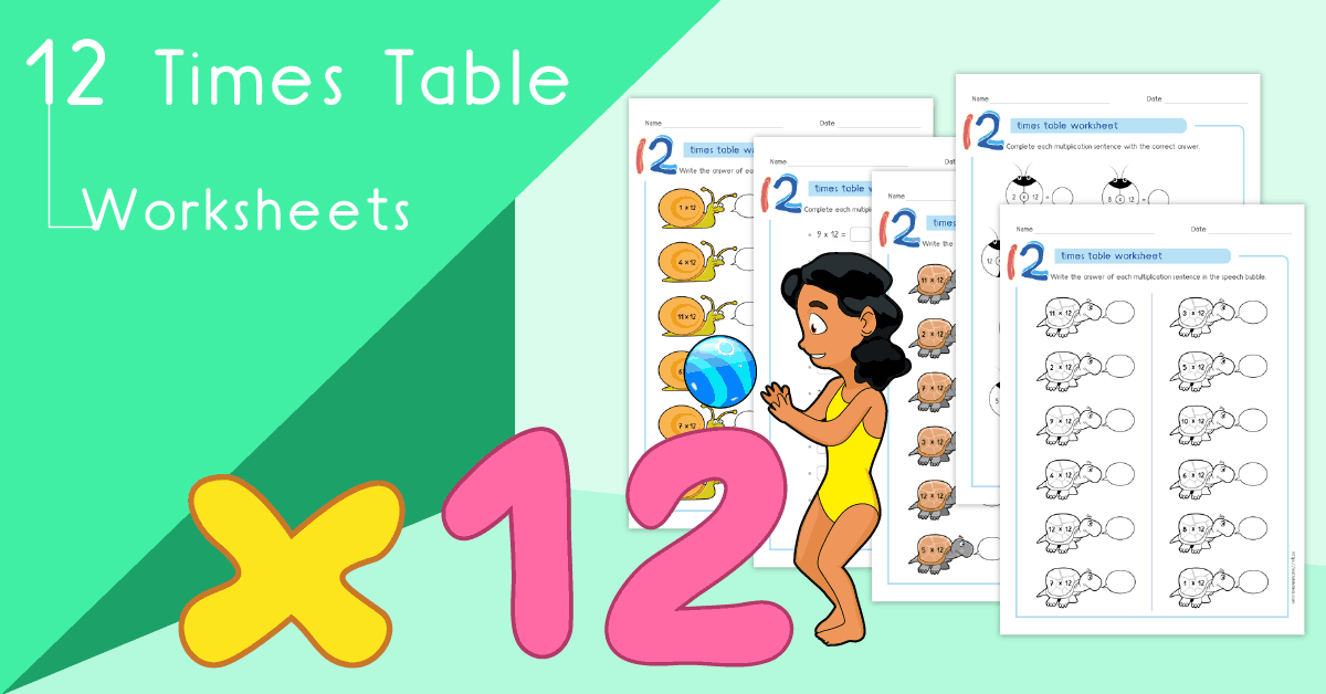 12 times table worksheets PDF - Multiplying by 12 activities