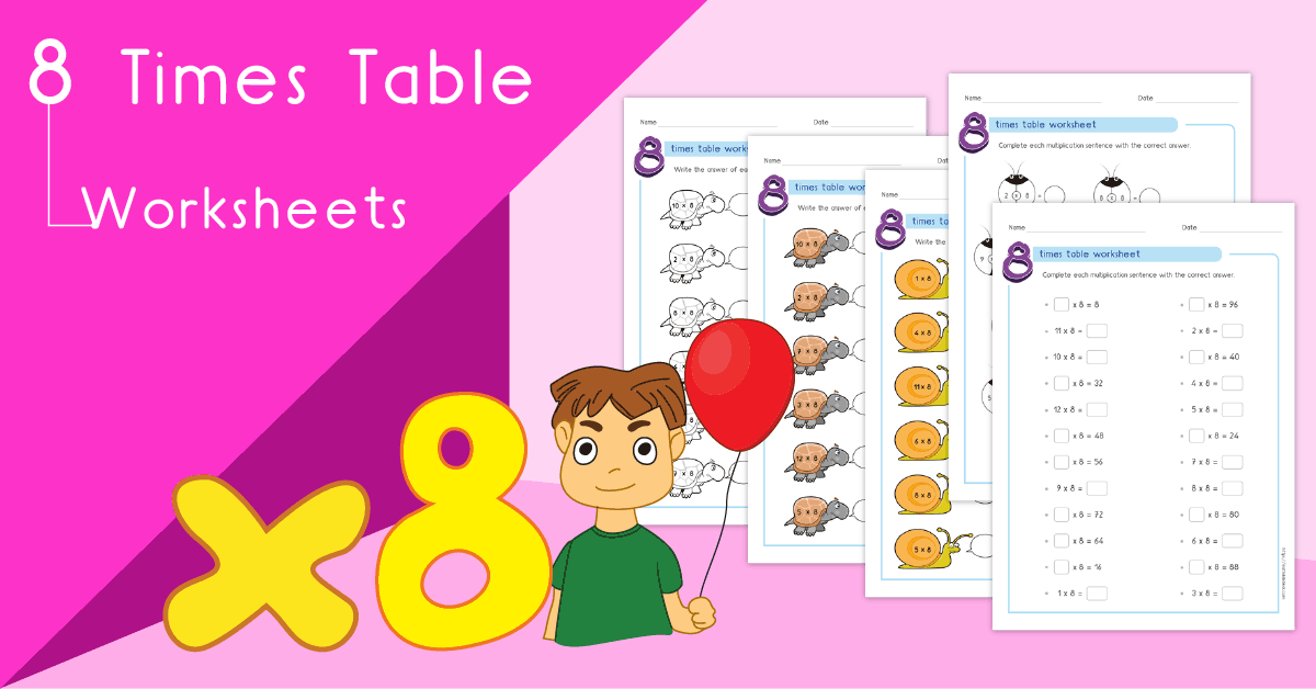 Multiplication printable - 8 times table worksheets