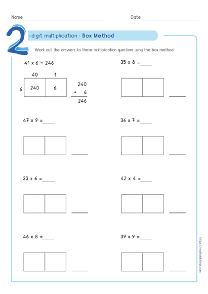 Box multiplication method - Partial product multiplication worksheet 2 by 1