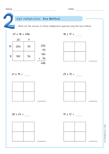 Box multiplication method - Partial product multiplication worksheet 2 by 2