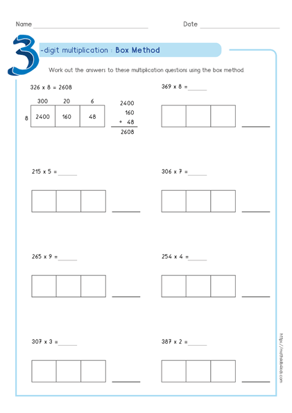 Box multiplication method - Partial product multiplication worksheet 3 by 1
