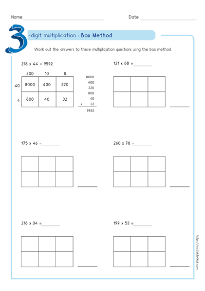 Box multiplication method - Partial product multiplication worksheet 3 by 2