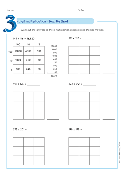 Box multiplication method - Partial product multiplication worksheet 3 by 3