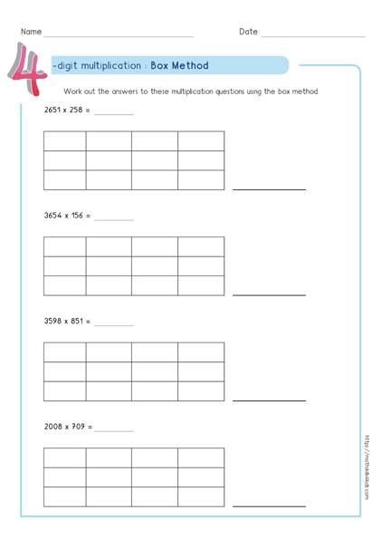 Box multiplication method - Partial product multiplication worksheet 4 by 3
