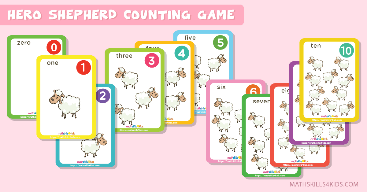 Hero Shepherd printable counting cards for numbers up to 10 - Prekinders counting cards