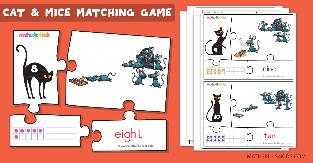 Cat and Mice numbers math game for kids - Printable number puzzle matching game