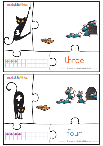 Cat and Mice numbers math game for kids - number 3 to 4