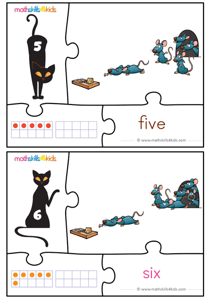 Cat and Mice numbers math game for kids - number 5 to 6