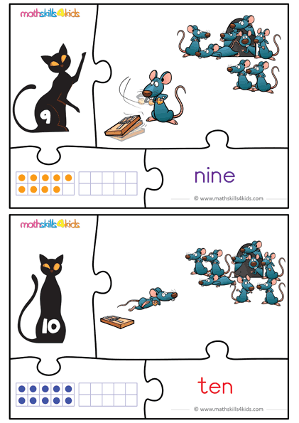 Cat and Mice numbers math game for kids - number 7 to 8