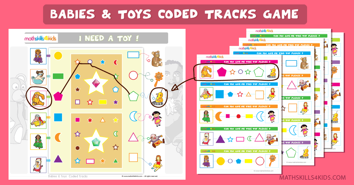 Babies and Toys coded tracks game - Pre-K Free printable logic game