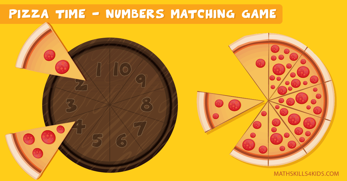 1-10 Pizza number matching game - Pizza counting math: number up to 10