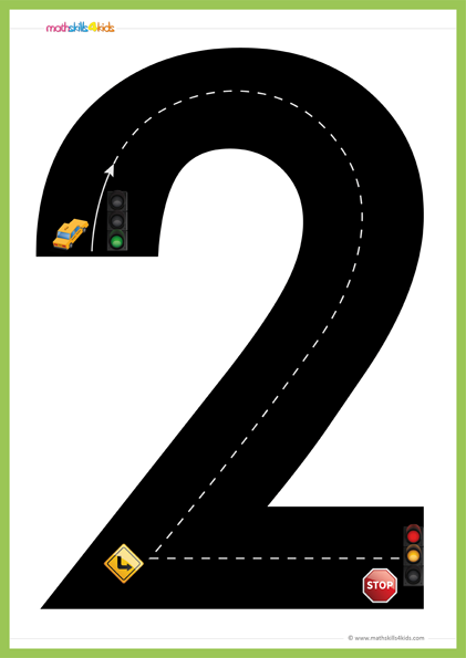 graphic relating to Number 2 Printable titled Street Quantities Math performing exercises activity Pre-K Free of charge printable Highway