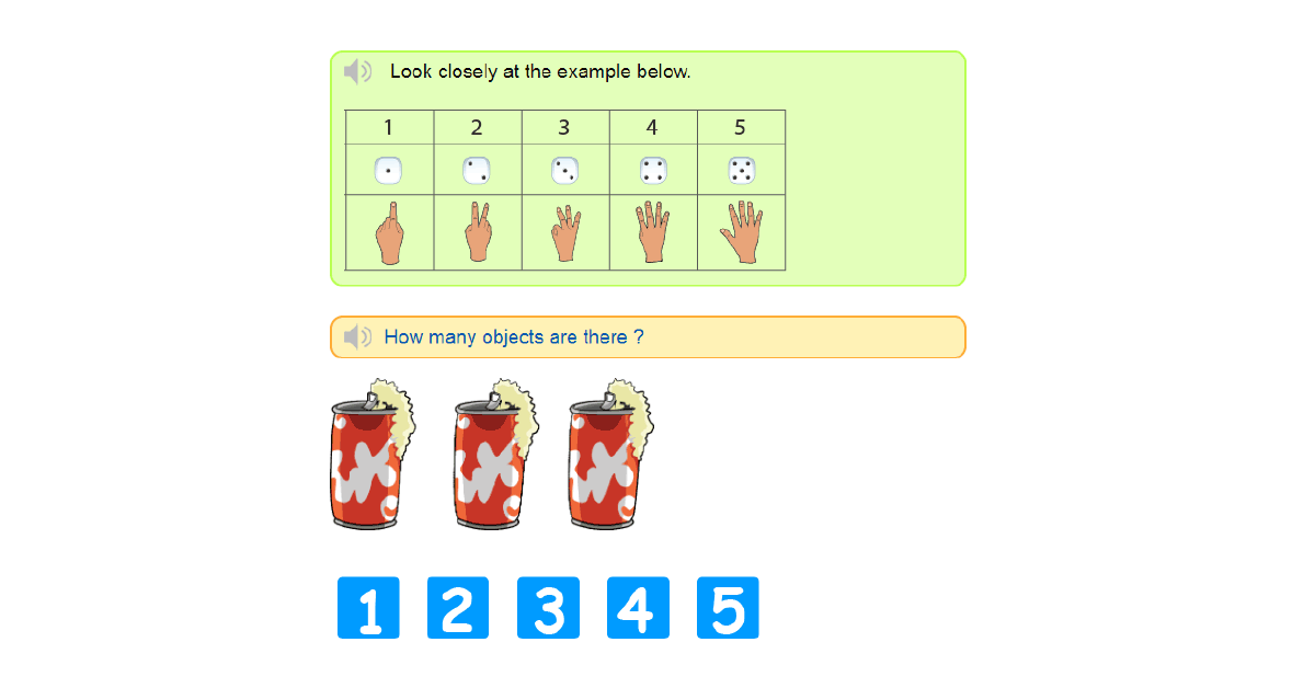 Counting 1 to 5 exercises online - Learn counting up to 5