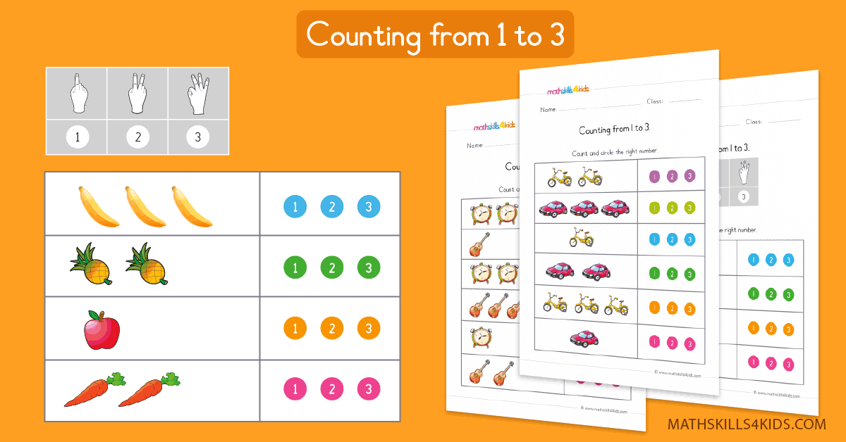 Preschool Math Worksheets Counting To 3 Learn To Count Up To 3
