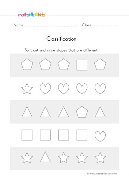 Sorting Worksheets For Preschool Classifying Worksheets PDF