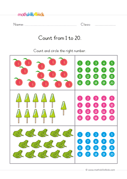 Counting To 20 Worksheets For Preschool Pre-K Free Counting To 20  Printable