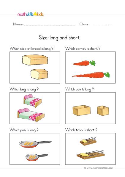Size Worksheets For Preschool Pre-K Free Size Comparison Printable